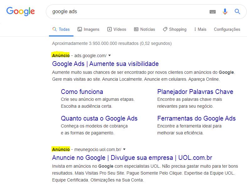Anúncios no Google Ads - Rede de Pesquisa